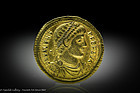 Important ancient Roman gold coin of Emperor Valens