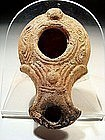 Extremely Rare Roman Oil Lamp With Pomegranate, 200 AD