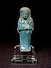 Egyptian Dark Blue Turquoise Faience Ushabti, 1000 BC