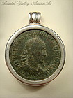 Ancient Roman Bronze Coin On Silver Pendant, 200 AD