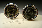 Ancient Biblical Roman Bronze Coin Cufflinks, 300 AD