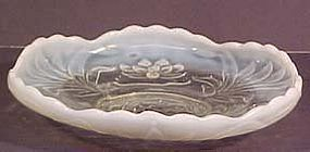 Fenton French Opalescent Waterlily & Cattails Console