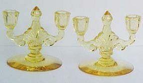 Heisey Sahara Trident Candlestick (pair)