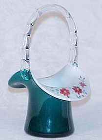 Fenton Connoisseur Collection Teal Overlay Basket