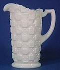 "Westmoreland Old Quilt 7.5"" Pitcher, Milk Glass"
