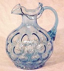 "Fenton Forget-Me-Not Blue Coin Optic 7"" Jug"
