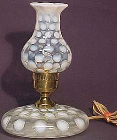 Jefferson Glass(?) French Opalescent Coin Dot Lamp(s)