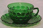Hocking Bubble Forest Green Cup & Saucer