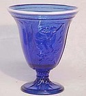 Fenton Dancing Ladies Cobalt Vase with Snowcrest