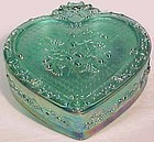 Fenton Light Spring Green Irridized Trinket Box Heart