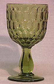 Fenton Colonial Green 10 oz Goblet, Thumbprint