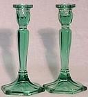 Fenton Spring Green Candlesticks