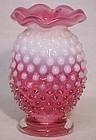 "Fenton Cranberry Opalescent Hobnail Mini Vase 3.5"""