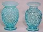 Fenton Blue Opalescent Hobnail Mini Vase