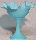 Fenton Blue Satin Compote, Persian Medallion