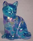 Fenton Hand-painted Blue Cat