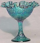 Fenton Irridized Blue Persian Medallion Compote