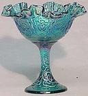 Fenton Irridized Blue Persian Medallion Compote