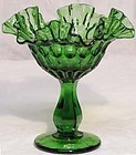 Fenton Colonial Green Thumbprint Comport