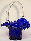 Fenton Cobalt Blue Butterfly and Raspberry Basket