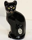 Fenton Black Hand-painted Cat, 5""