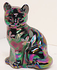 Fenton Carnival Hand-painted Cat on Amethyst