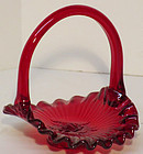 Fenton Red Miniature Basket, Ribbed Rose
