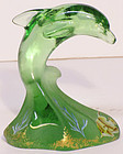 Fenton Hand-painted Green Porpoise (Limited design by K Spindler)