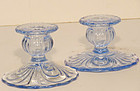 Cambridge Caprice Single Candlesticks (Lt. Blue)