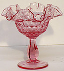 Fenton Dusty Rose Thumbprint Comport