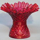 "Fenton Cranberry Diamond Dot 6"" Vase"