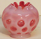 Fenton Cranberry Opalescent Coin Spot Rose Bowl, 3.5""