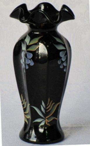 Fenton Black Vase, hand-painted