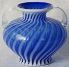 Fenton Blue Swirl Connoisseur Collection Vase with Handles
