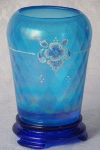 Fenton Blue Diamond Optic 2-pc Stretch Vase