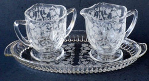 New Martinsville Creamer & Sugar with Tray, Florentine Etching