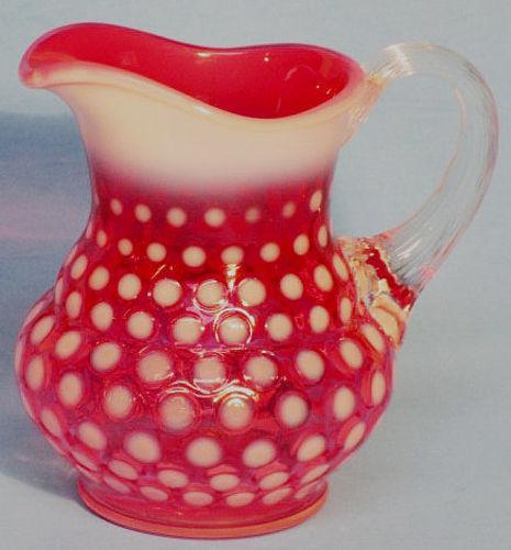Fenton Cranberry Polka Dot Creamer
