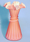 Fenton Pink Cased Straw Vase