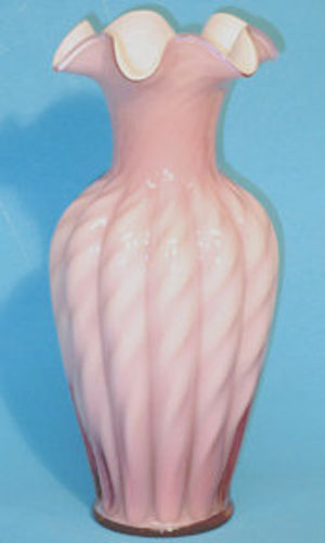 "Fenton Cased Dusty Rose, Spiral Optic 11"" Vase"