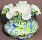 "Fenton Vasa Murrhina Blue/Green 4"" Vase"