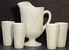 Indiana Colony Harvest with Grapes Pitcher Set w/6 Tumblers, Milkglass