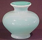 "Fenton Cased Jade Opaline 7"" Vase"