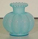 Fenton Blue Overlay Squat vase, 3.5 tall
