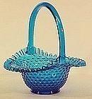"Fenton Colonial Blue Hobnail 10"" Basket"