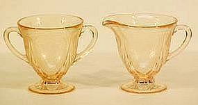 Hazel Atlas Royal Lace Pink Creamer & Sugar