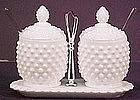 Fenton Hobnail Jam & Jelly Set, milkglass