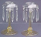 Fostoria #2436 Lustre Candlesticks Yellow (pair) RARE