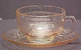Hazel Atlas Cloverleaf Pink Cup & Saucer