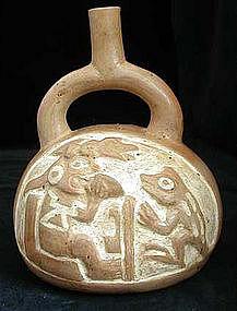 Moche III Carved Ai Apaec Vessel