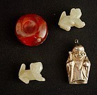 Chinese Jade Lions, God of Prosperity, Han Dynasty Carnelian Cabochon
